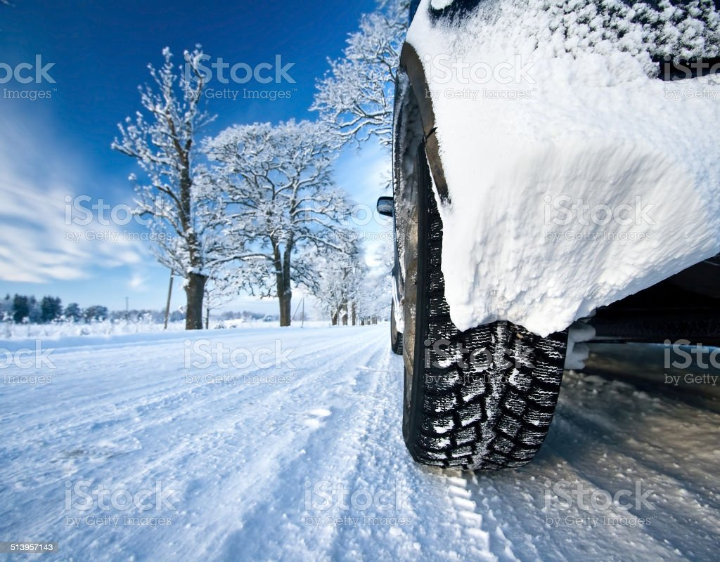 Car on the countryside road stock photo