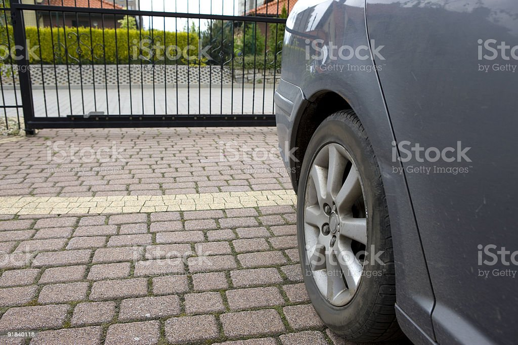 car on the driveway royalty-free stock photo