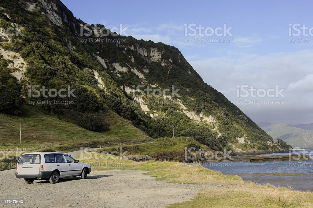 Car on the east coast in New Zealand royalty-free stock photo