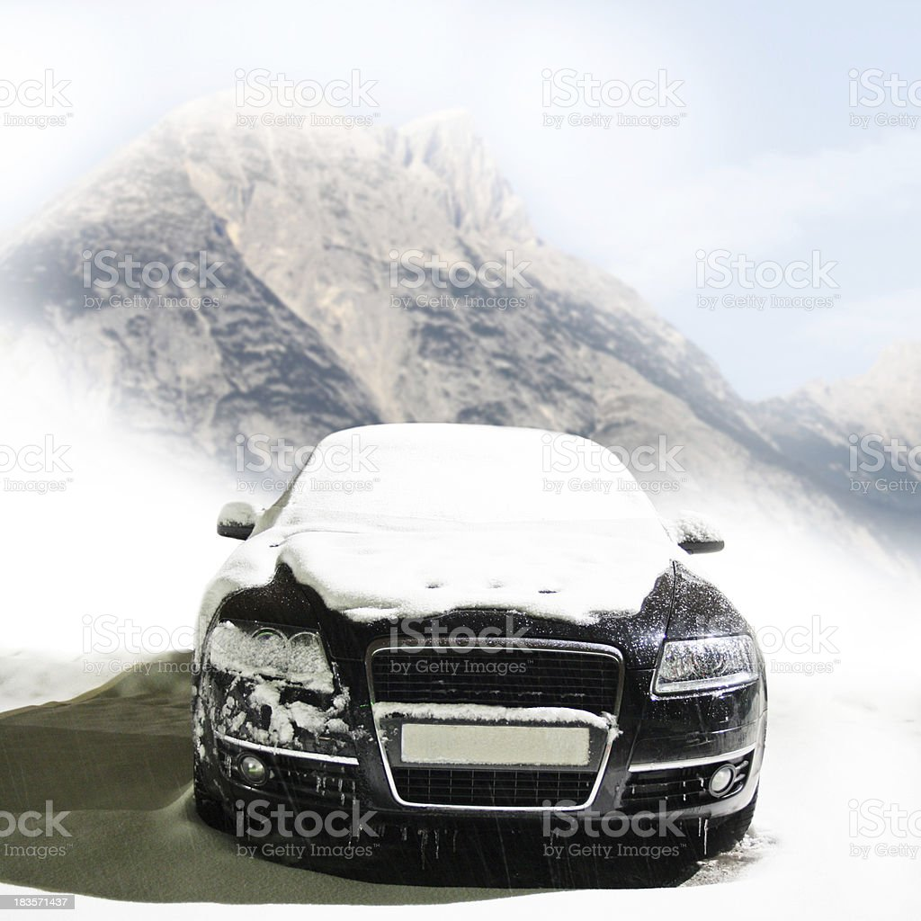car on the mountain road royalty-free stock photo