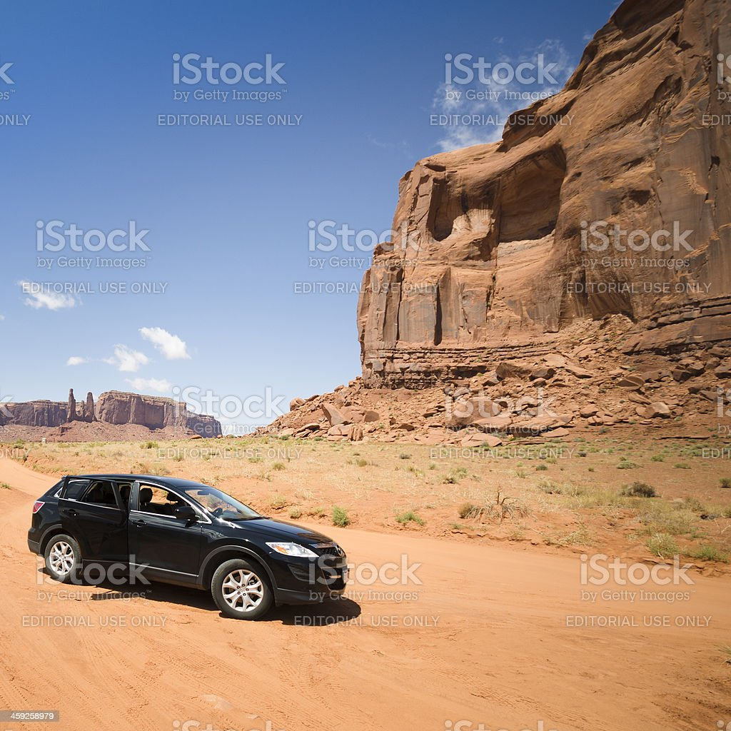 Car on the National park road stock photo