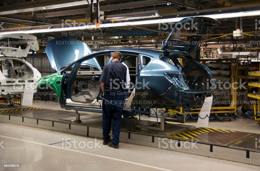 Car on the production line stock photo