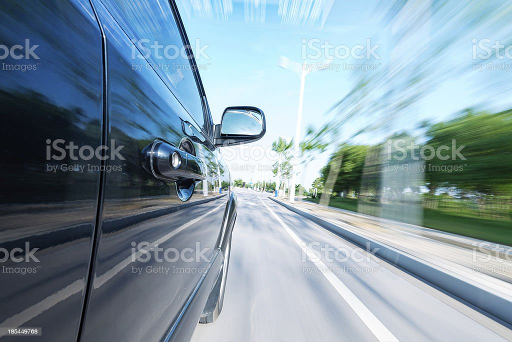 car on the road with motion blur background royalty-free stock photo