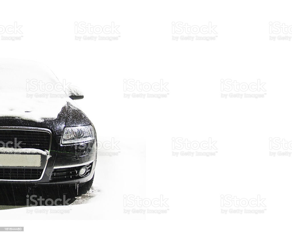 car on the winter road royalty-free stock photo