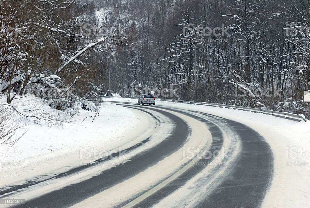 car on winter road royalty-free stock photo