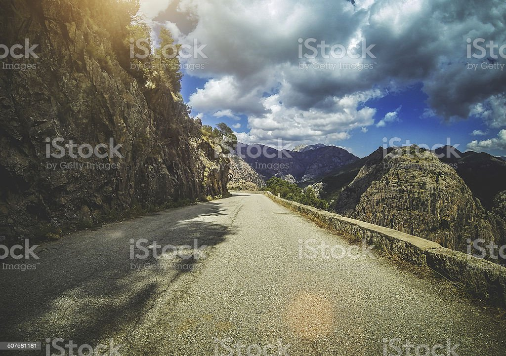 Car Onboard Camera: the terrible roads of Corsica stock photo