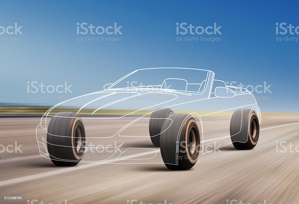 car outline on the road stock photo