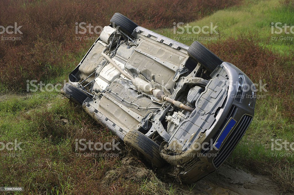Car overturned stock photo