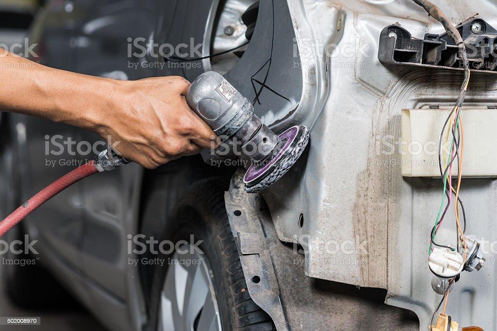 Car paint repair series stock photo