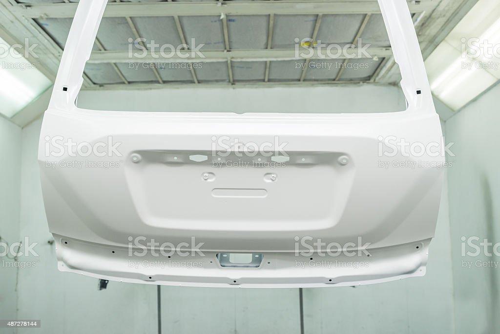 Car paint repair series : White car door stock photo
