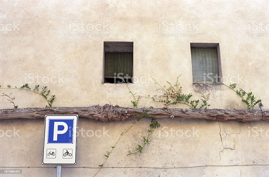 Car park sign with ivy royalty-free stock photo