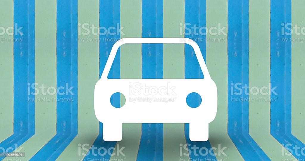 car park symbol on blue pastel wall royalty-free stock photo