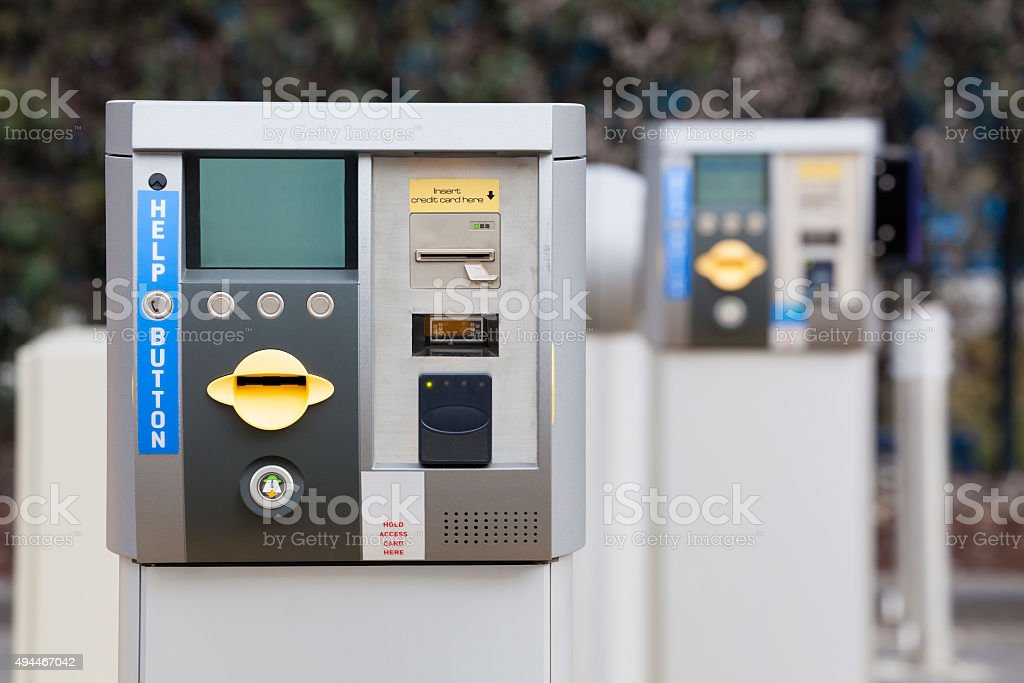 Car park ticket machine stock photo