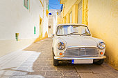 Car parked in an alley in Ir-Rabat, Gozo