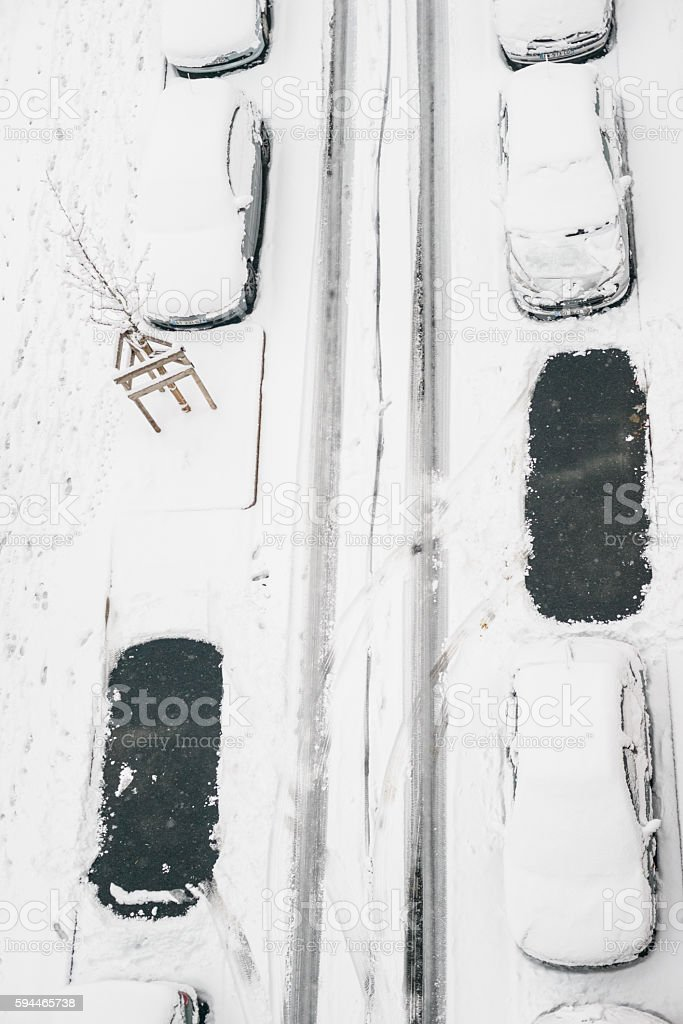 Car Parked under the snow stock photo