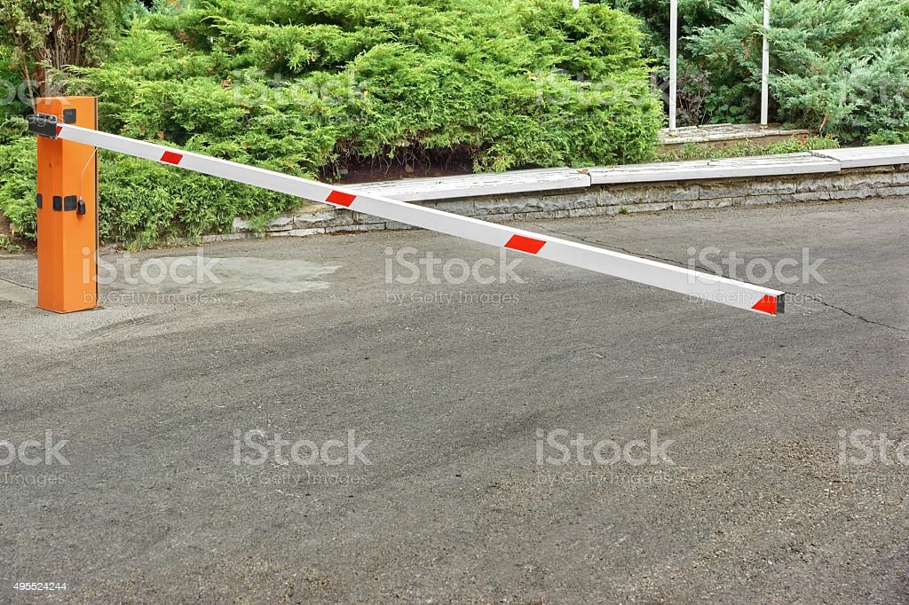 Car Parking Control System, Automatic Rising Arm Barrier stock photo