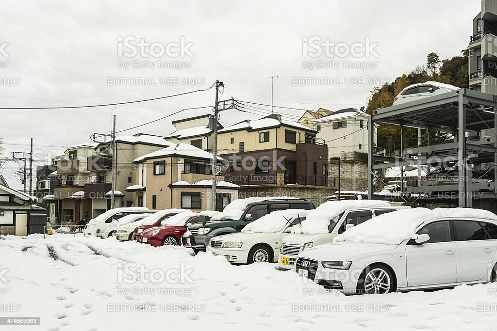 Car parking covered in snow stock photo