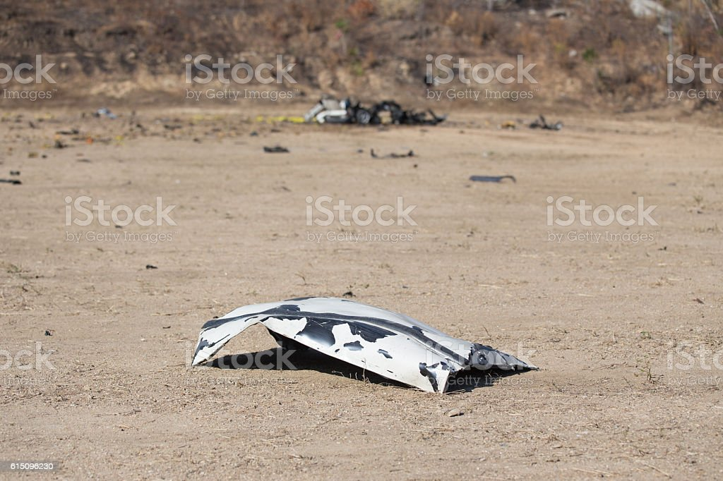 car part blown away from car bomb training stock photo