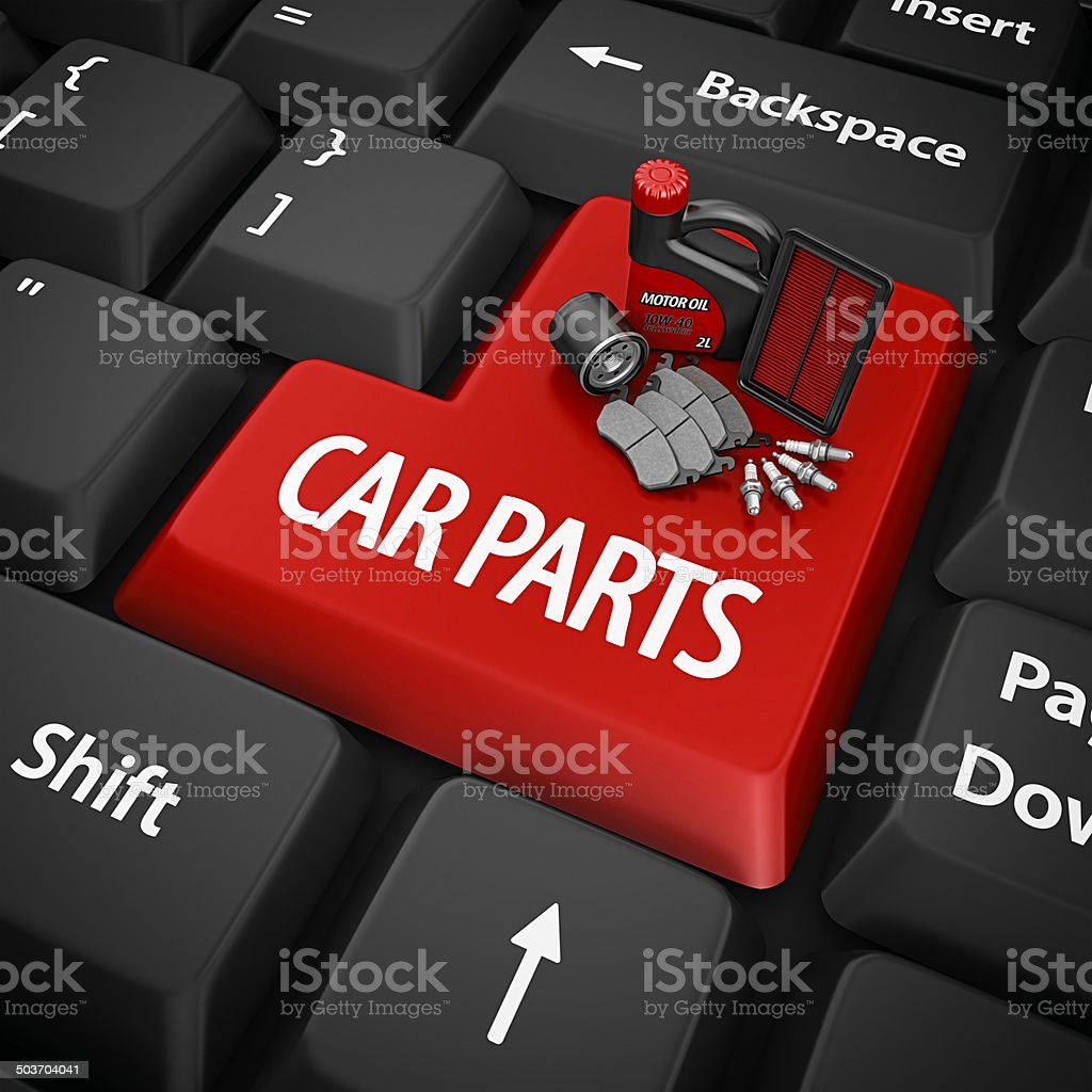 car parts enter key stock photo