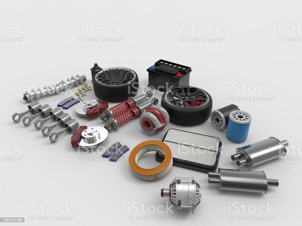 Car parts on white background. Tires, sparks, brakes, battery, turbine, alternator, oil filter.3D rendering. stock photo