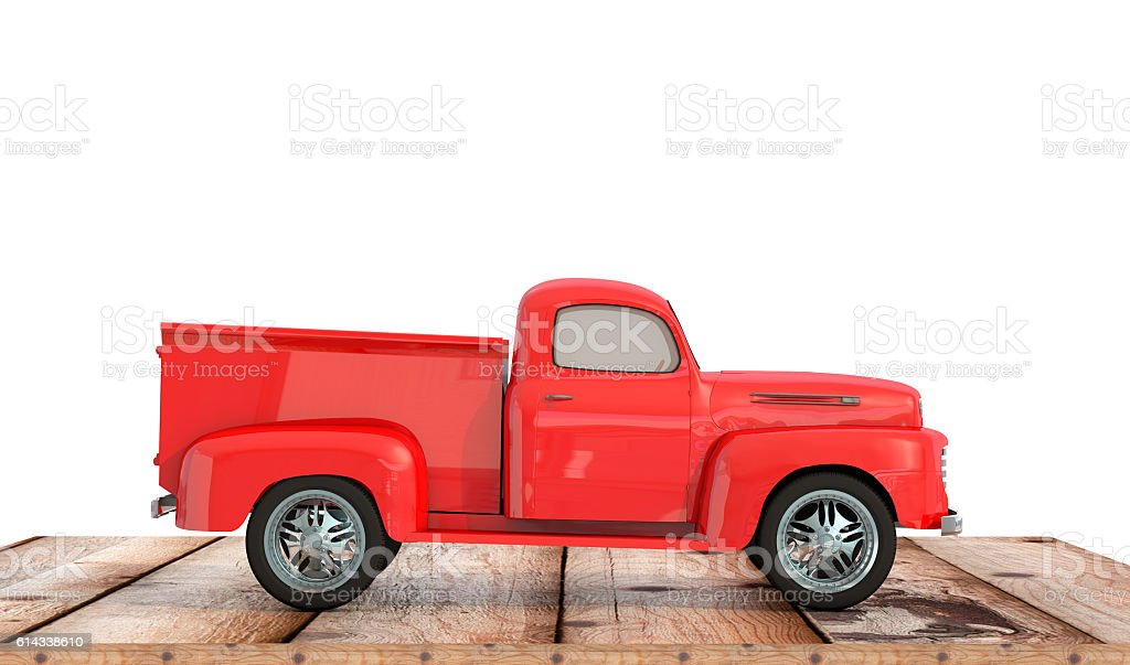car pick up on wooden background 3d render stock photo