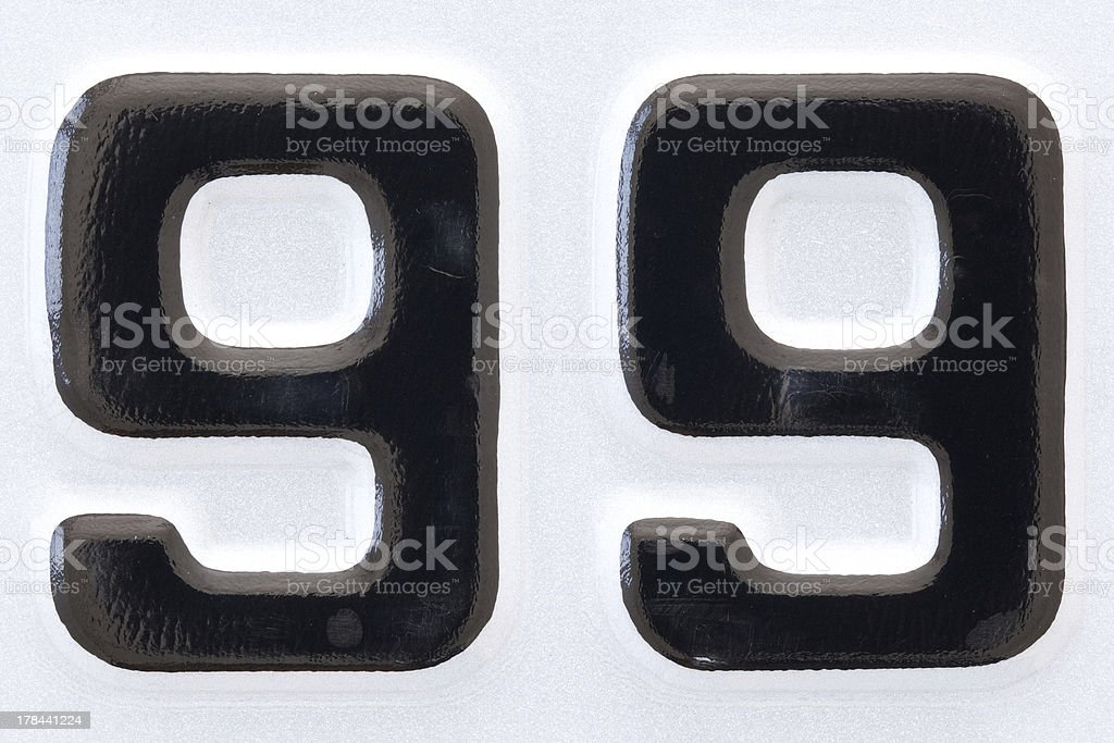 car plate number ninety-nine black lettering on a white background stock photo