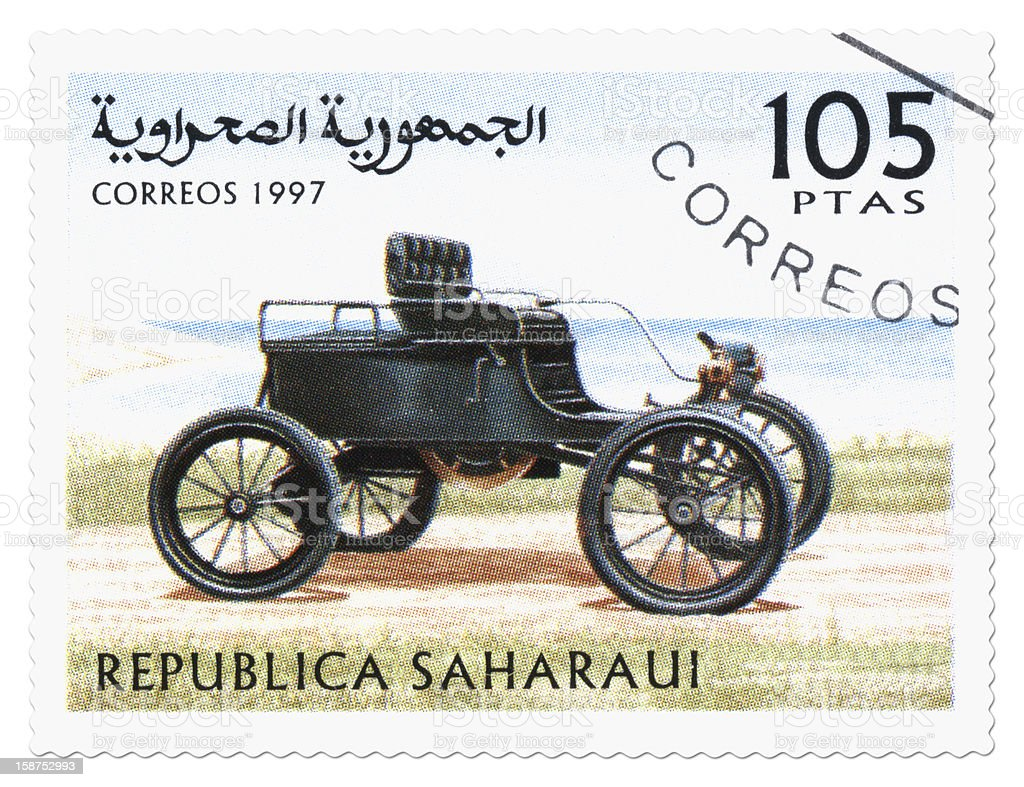 Car postage stamp stock photo
