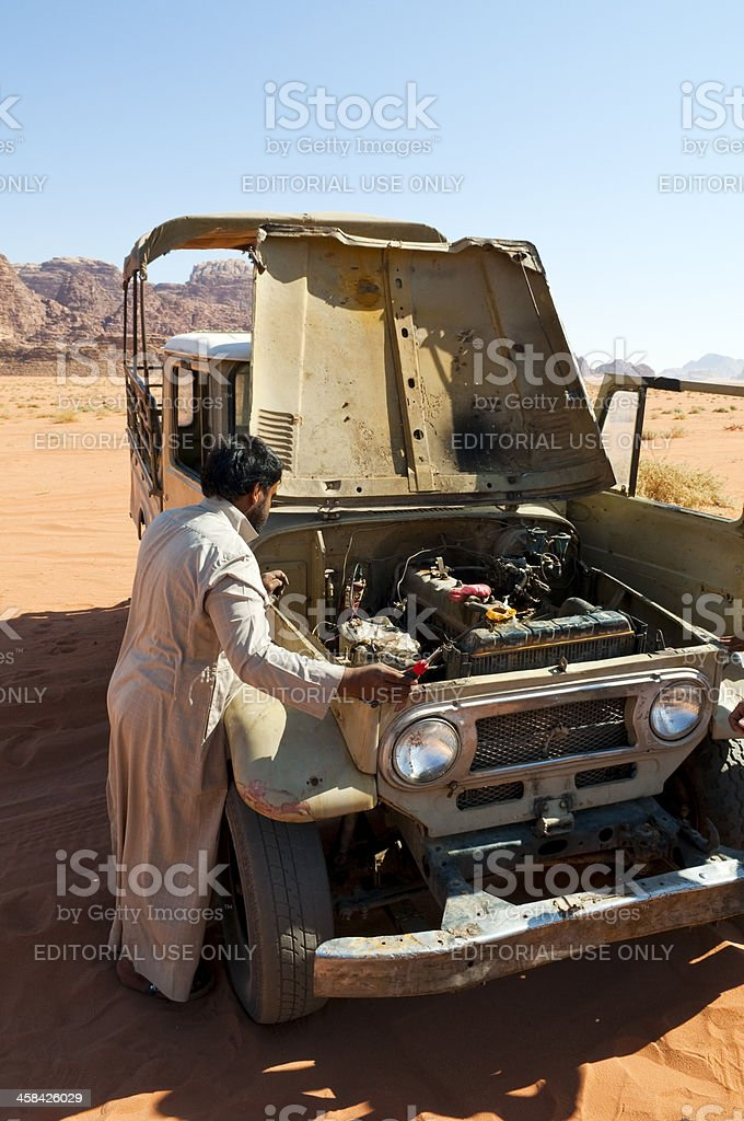 Car problems in Wadi Rum, Jordan royalty-free stock photo