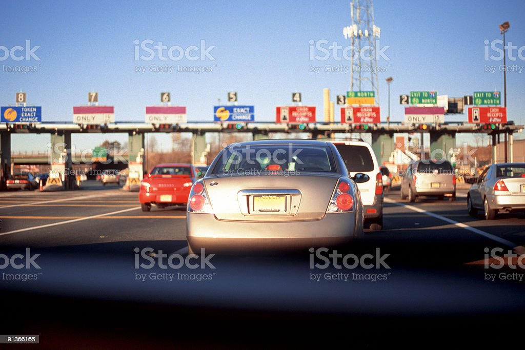 Car Pulling Into Toll Plaza - Garden State Parkway stock photo
