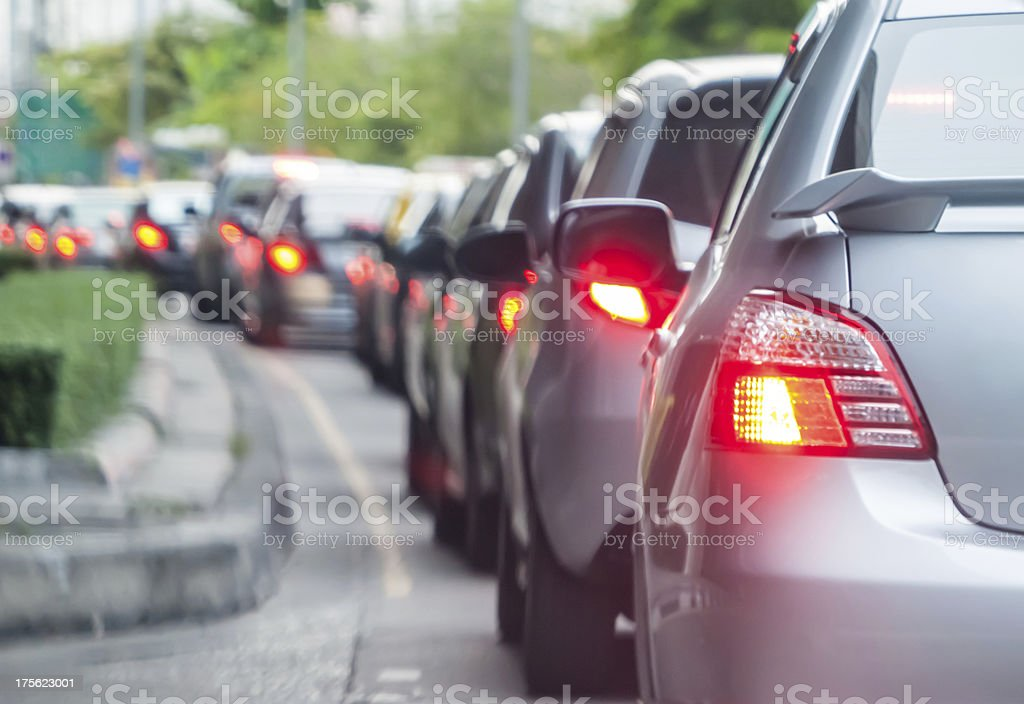 Car queue in the bad traffic road stock photo