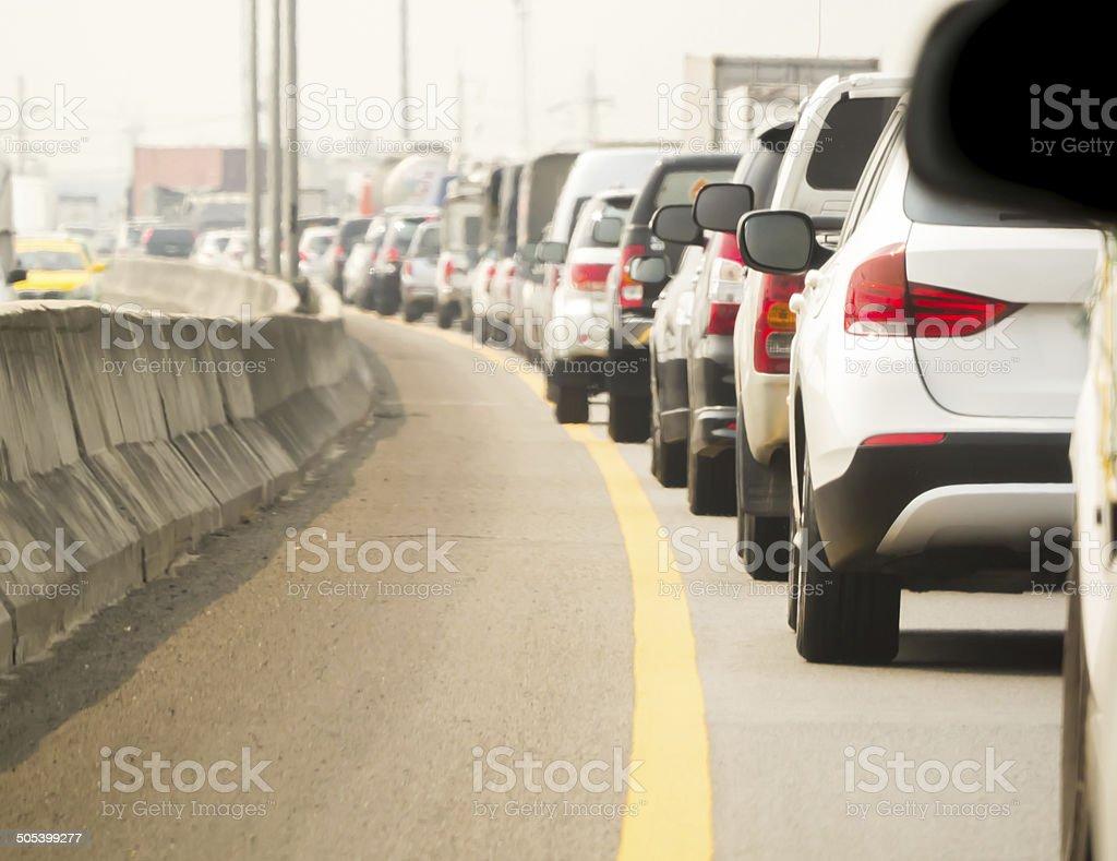 Car queue in the bad traffic road stock photo