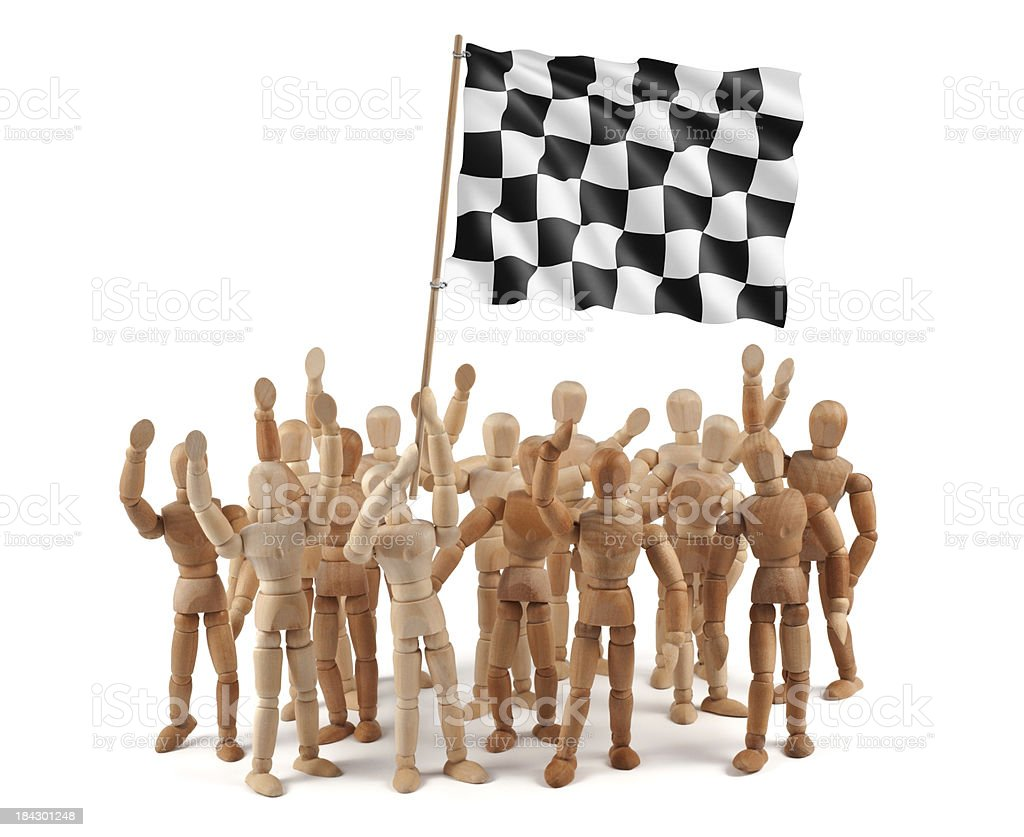 Car Race - wooden mannequin group with flag stock photo