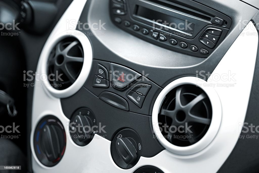 Car radio, cd, air condition stock photo