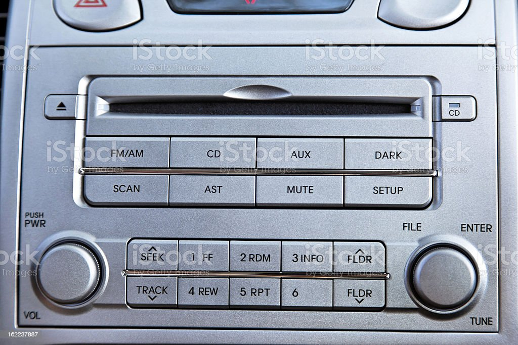 Car Radio + CD Player Close Up stock photo