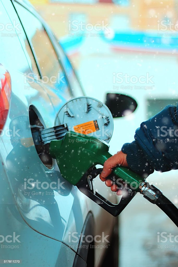 Car refueling gasoline stock photo