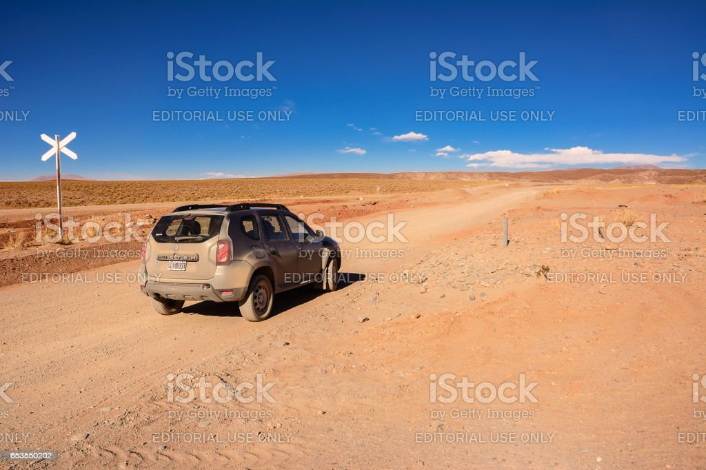 Car Renault Duster on Ruta ex 40 in Salta province from San Antonio Los Cobres to Salta stock photo