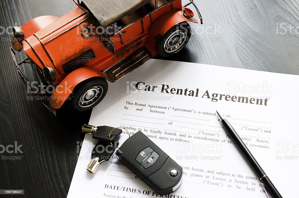 car rental agreement stock photo
