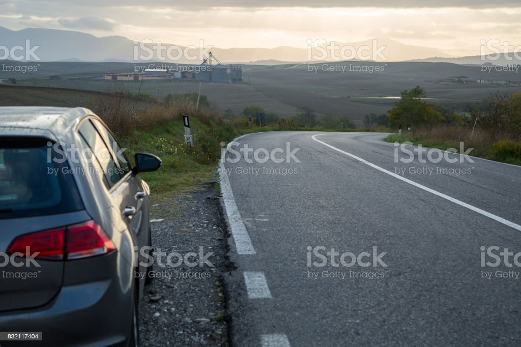 Car rental parking stock photo