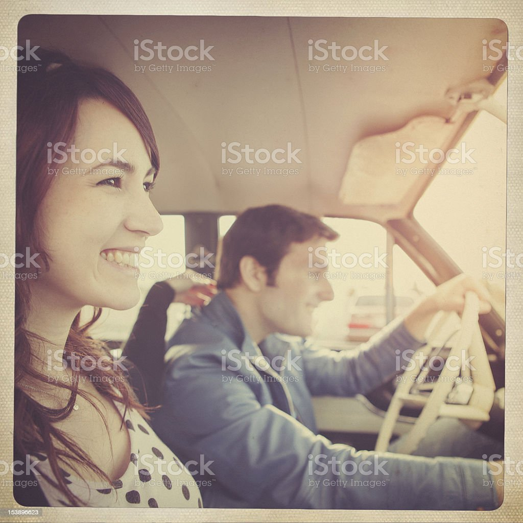 Car Ride Couple Retro Polaroid royalty-free stock photo