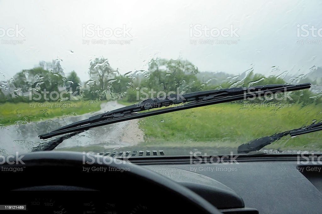 car ride in rain royalty-free stock photo