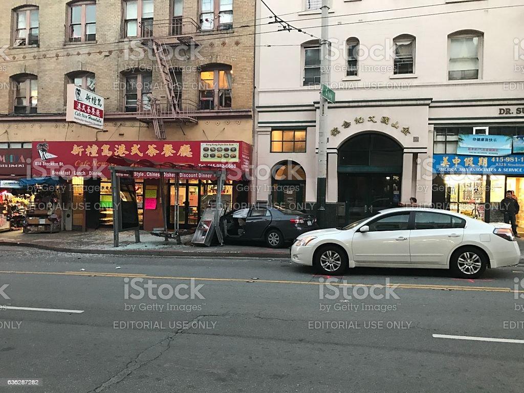 Car run to the side way at  San Francisco, CA stock photo