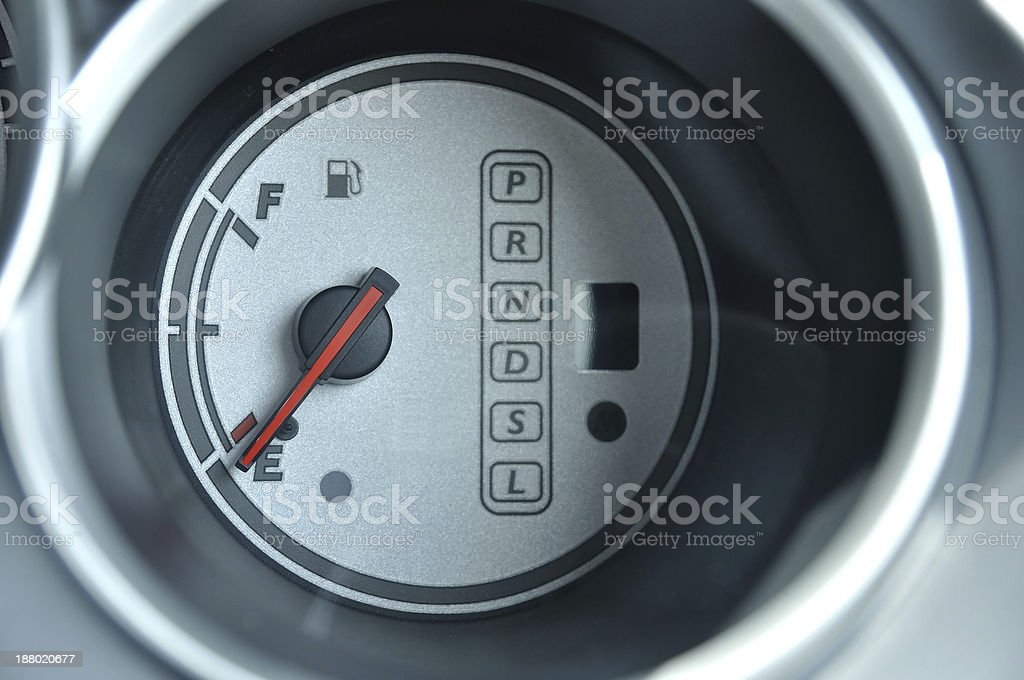 Car 's fuel-meter with gear control stock photo