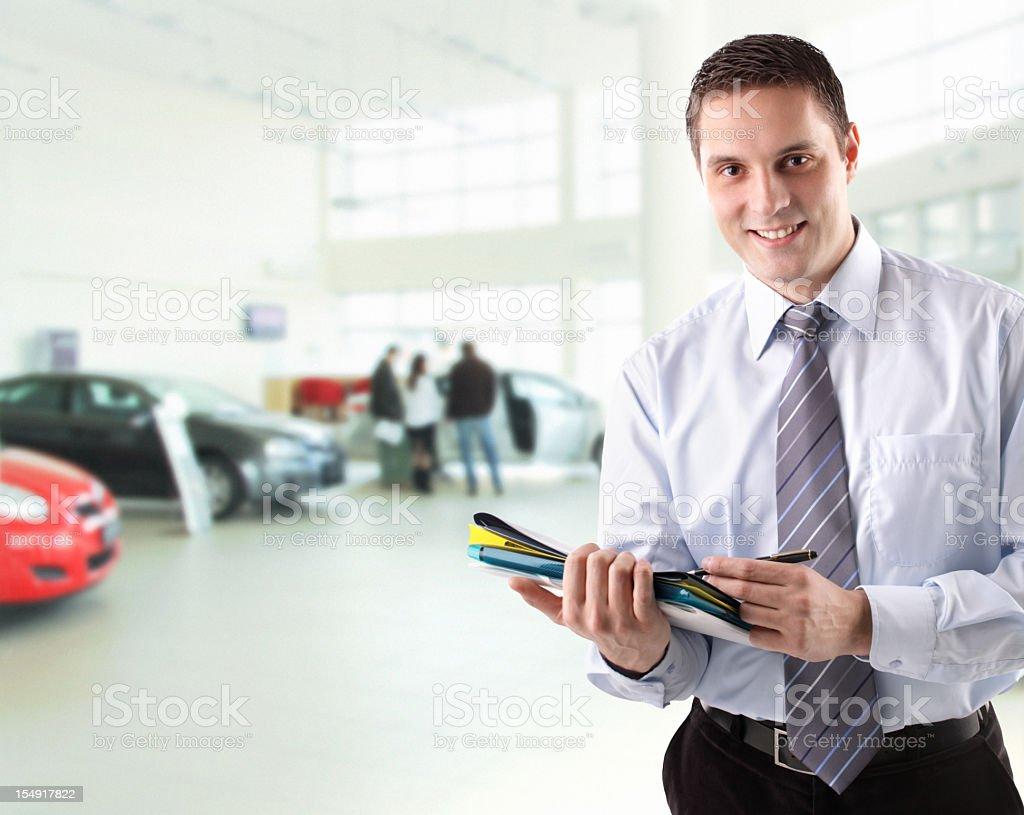 Car salesman. stock photo