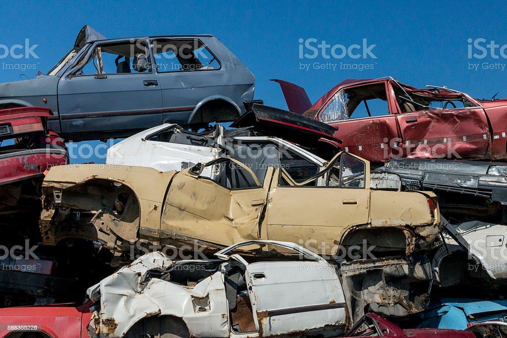 Car scrap yard stock photo