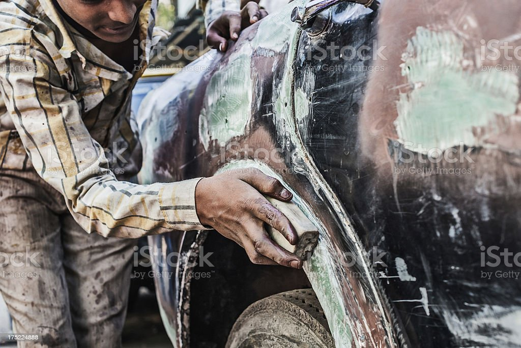 Car scratching royalty-free stock photo
