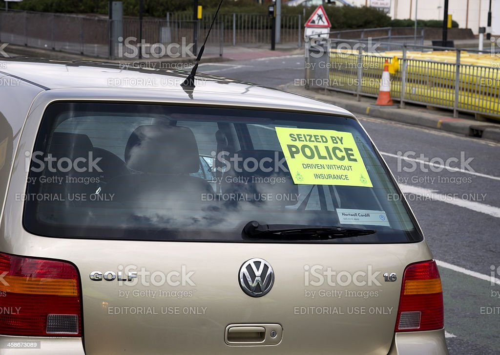Car seized by police, driven without insurance stock photo