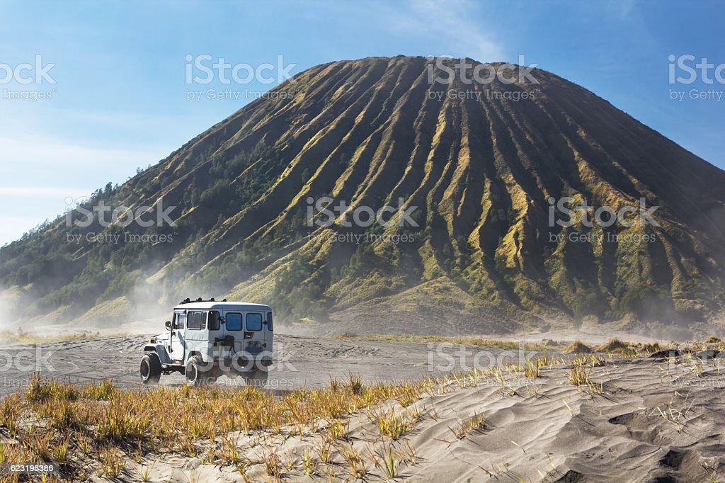 car service for tourist on desert at Bromo Mountain stock photo