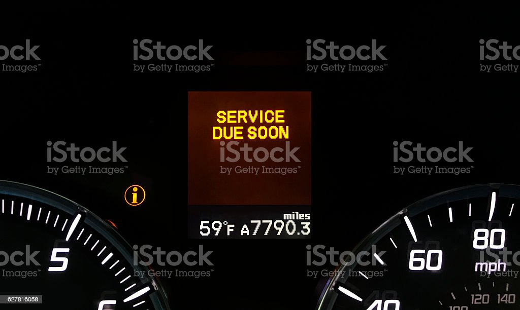 Car service warning light stock photo