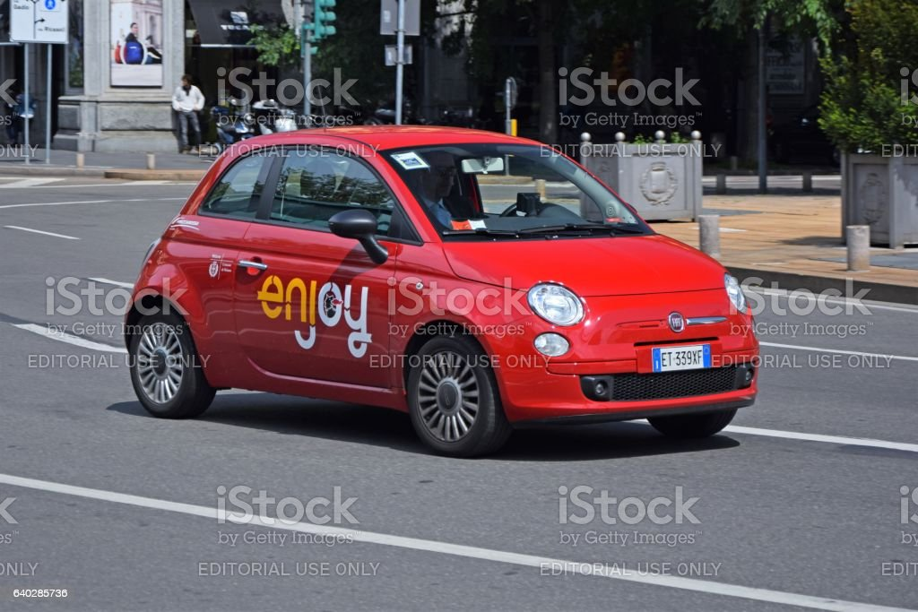 Car sharing car in motion stock photo