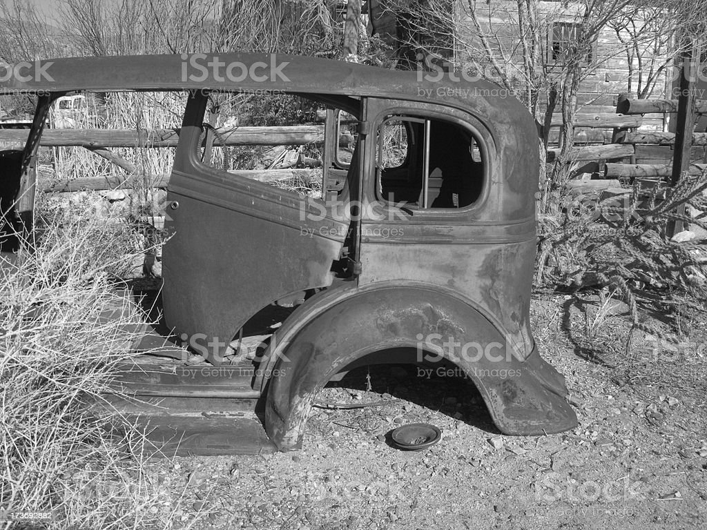 Car Shell Antique Black And White stock photo